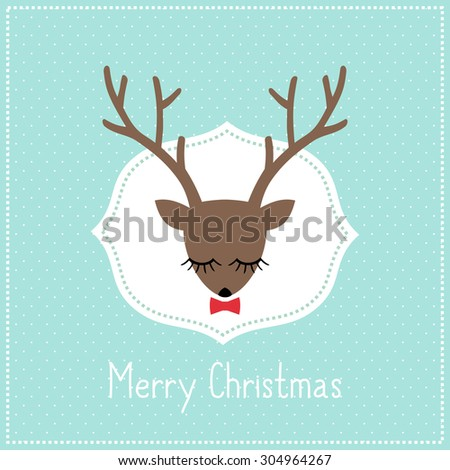 Merry Christmas card with cute deer with bow. Deer head illustration on light blue polka dots background. - stock vector