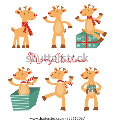 Merry Christmas card with cute reindeers. Vector illustration - stock vector