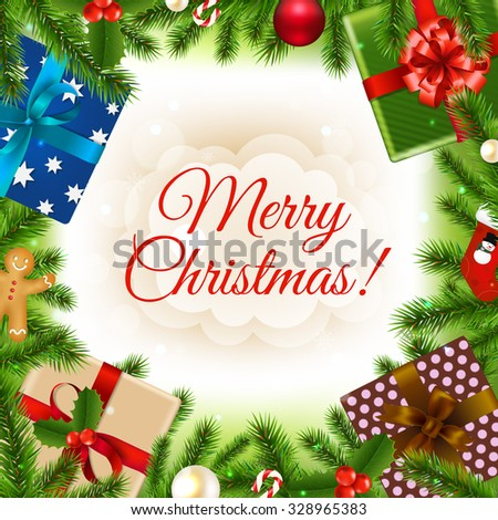 Merry Christmas Card With Gradient Mesh, Vector Illustration - stock vector