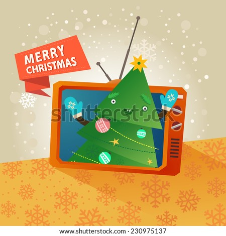 Merry christmas card with happy funny Christmas tree inside of tv set and red ribbon with Merry Christmas text. Vector colorful illustration in flat design style - stock vector