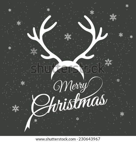 Merry christmas card with reindeer horns - stock vector