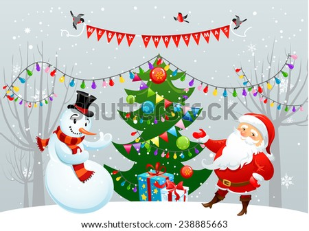 Merry Christmas card with Santa Claus and snowman.Holiday illustration - stock vector