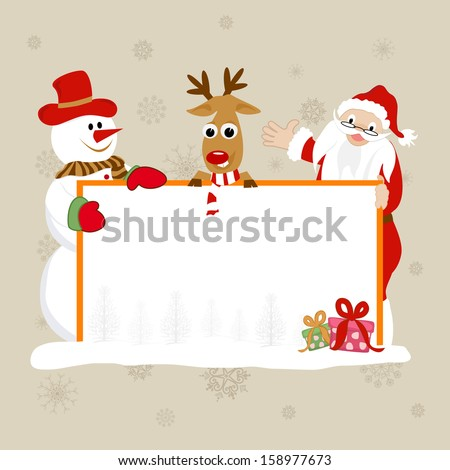 Merry Christmas celebration banner, poster or flyer design with happy Santa Claus, snowman and reindeer holding blank banner for your wishes  - stock vector