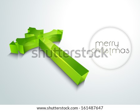 Merry Christmas celebration concept with glossy green Christian Cross. - stock vector