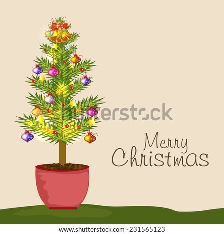 Merry Christmas celebration concept with X-mas ball decorated fir plant on beige background. - stock vector