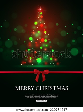 Merry Christmas 2015 celebration concept with xmas tree lights, red bow and place for text. Shining Christmas background. Vector illustration. - stock vector