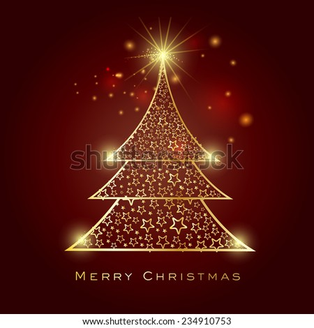 Merry Christmas celebration greeting card design with beautiful stylish X-mas Tree decorated by stars on shiny brown background. - stock vector