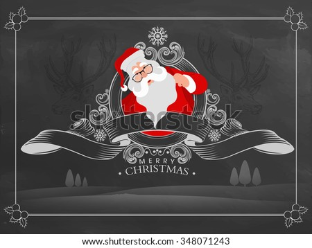 Merry Christmas celebration greeting card design with illustration of Santa Claus and stylish ribbon on creative chalkboard background. - stock vector