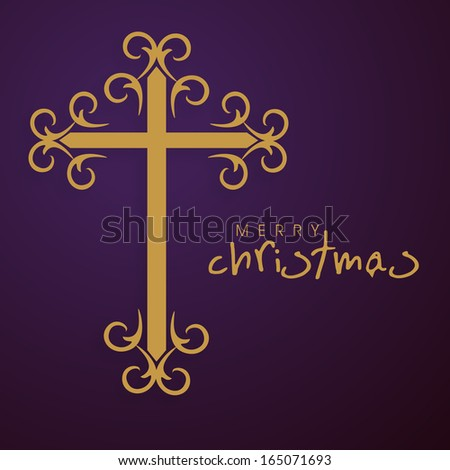 Merry Christmas celebration greeting card or invitation card with golden christian cross on purple background.  - stock vector