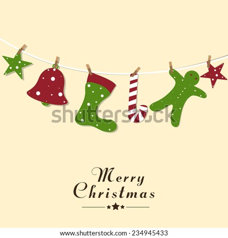 Merry Christmas celebration poster design with colorful X-mas ornaments hanging on a rope.  - stock vector