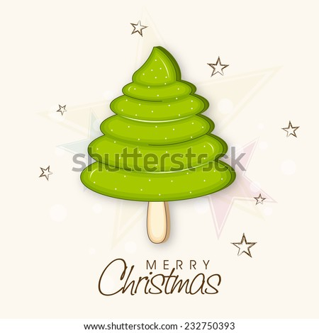 Merry Christmas celebration poster with stylish X-mas tree and wishing text on star decorated background. - stock vector