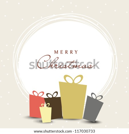 Merry Christmas celebration with gift boxes on snowflakes background. EPS 10. - stock vector