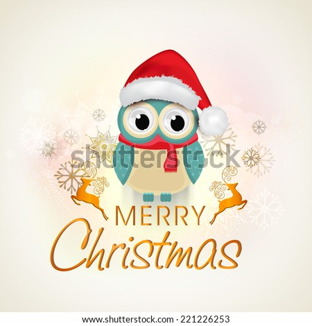 Merry Christmas celebrations, cute owl in santa hat and red scarf wishing on beautiful xmas ornaments decorated background.  - stock vector