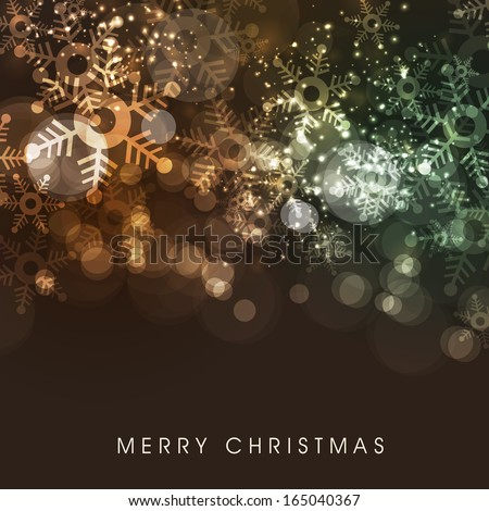 Merry Christmas celebrations flyer, banner, poster or invitation with colorful snowflakes on brown background.  - stock vector