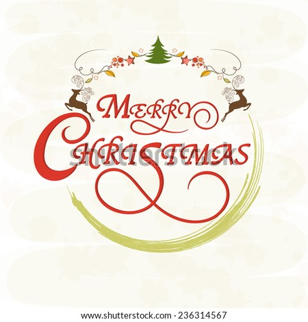 Merry Christmas celebrations greeting card design decorated with wishing text and X-mas objects on stylish background. - stock vector