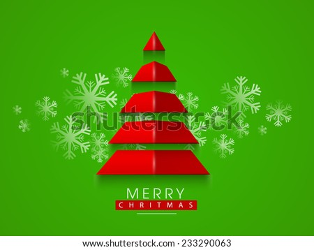 Merry Christmas celebrations with stylish paper X-mas Tree on beautiful snowflakes decorated green background. - stock vector