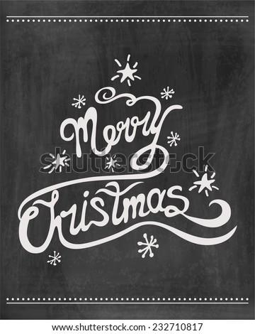 Merry christmas  chalkboard . Vector illustration.  - stock vector