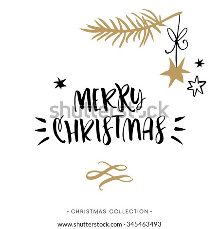 Merry Christmas! Christmas greeting card with calligraphy. Handwritten modern brush lettering. Hand drawn design elements. - stock vector
