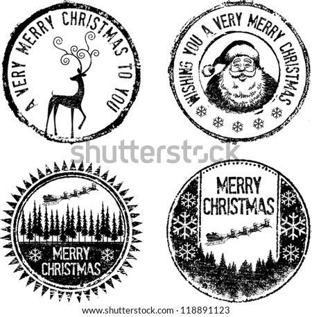 Merry Christmas classic stamp set - stock vector