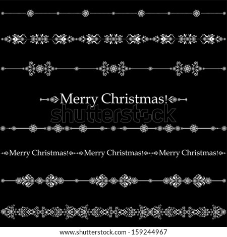 Merry Christmas! Collection of design elements vintage set isolated on black  background. Vector illustration  - stock vector