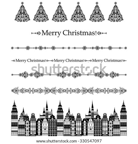 Merry Christmas! Collection of design elements vintage set isolated on White background. Vector illustration - stock vector
