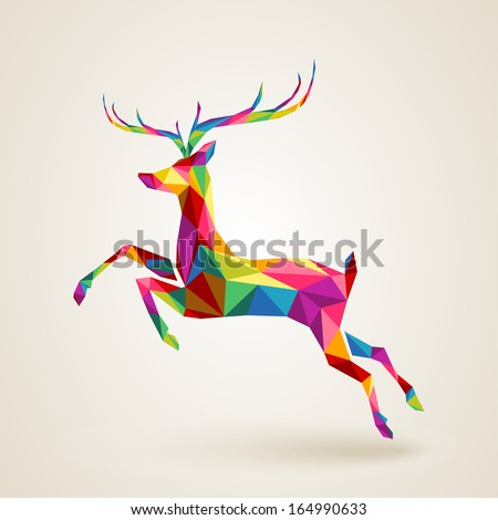 Merry Christmas color abstract reindeer geometric composition. EPS10 vector file organized in layers for easy editing - stock vector
