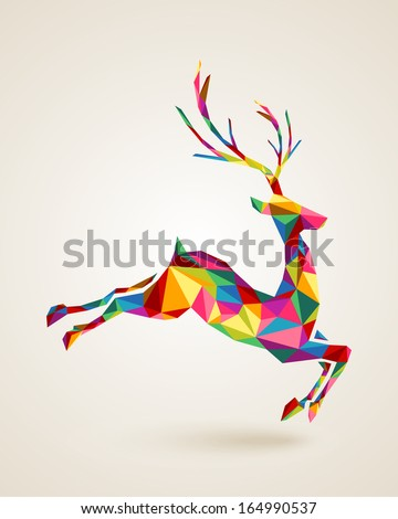 Merry Christmas colorful abstract reindeer with geometric origami composition. EPS10 vector file organized in layers for easy editing - stock vector
