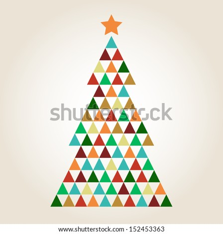 Merry Christmas colorful mosaic tree isolated on beige background  - stock vector