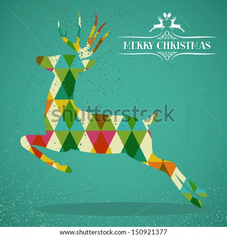 Merry Christmas colorful reindeer jump transparent geometric elements green background. EPS10 vector with transparency organized in layers for easy editing. - stock vector