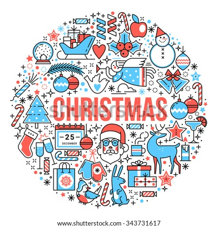 Merry Christmas composition and lettering in form of ball. Flat style thin line art icons color set isolated on white background. - stock vector