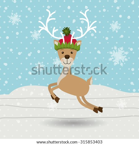Merry Christmas concept with reindeer design, vector illustration eps 10 - stock vector