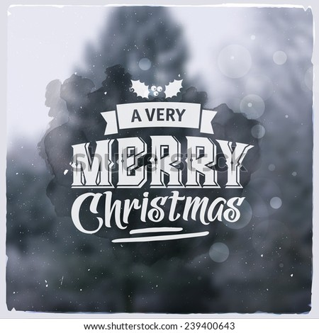 Merry Christmas creative graphic message for winter design.Vector blurred background - stock vector