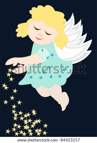 Merry Christmas - Cute little angel with stars - stock vector