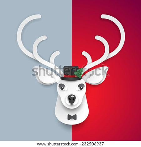 merry christmas deer background - stock vector