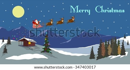 merry christmas deer sledge winter Santa Claus holiday moon night stars of a bulb of a fnara hills miracle Christmas background with reindeer and Santa Claus - stock vector