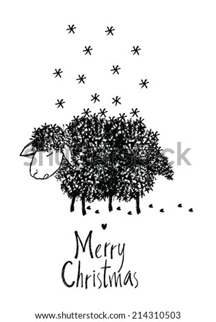 Merry Christmas design card with sheep - stock vector
