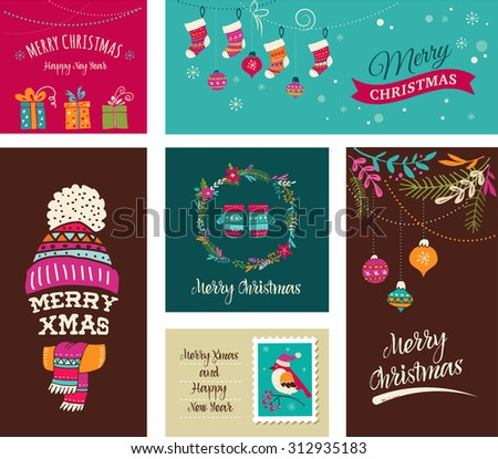 Merry Christmas Design Greeting cards - Doodle Xmas illustrations with birds, wreath, trees - stock vector