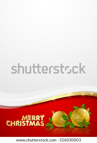 Merry Christmas document template with golden baubles - stock vector