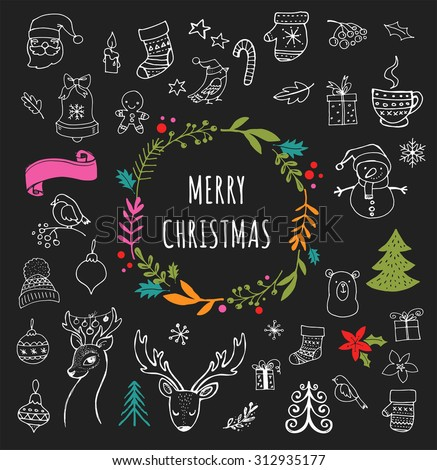 Merry Christmas - Doodle Xmas symbols, hand drawn illustrations, sketches on the Chalkboard, Blackboard - stock vector