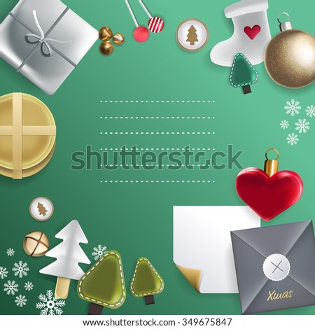 Merry Christmas festive background with Christmas decoration, vector illustration. - stock vector