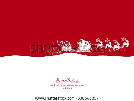 Merry Christmas - Flying White Santa Claus with Reindeer on Red Background Vector Greeting Card, Christmas Card. Holiday Season Backdrop Template Illustration. Christmas and New Years Eve Card - stock vector