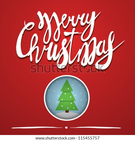 merry christmas for cards on red background. vector art - stock vector