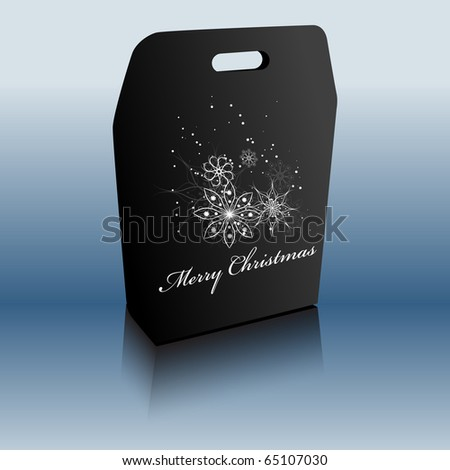 Merry Christmas gift bag. Vector illustration - stock vector