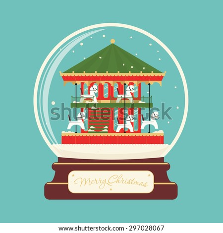Merry christmas glass ball with carousel horses. Celebratory scenery. Eve of New Year. Park of entertainments. Congratulatory postcard or poster. - stock vector