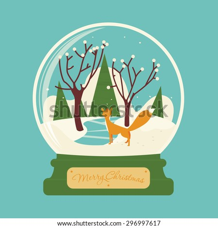 Merry christmas glass ball with fox in the forest. Celebratory scenery. Eve of New Year. Congratulatory postcard or greeting. - stock vector