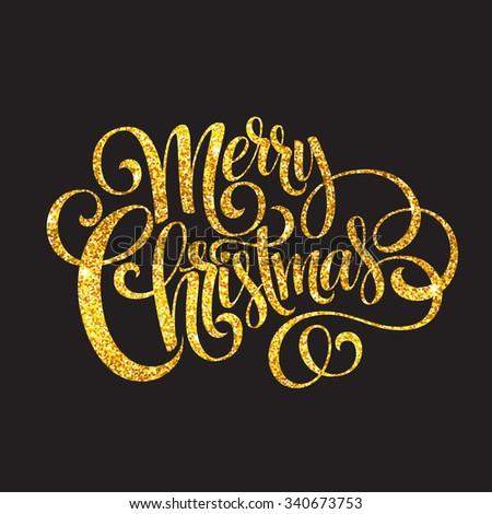 Merry Christmas gold glittering lettering design. Vector illustration EPS10 - stock vector