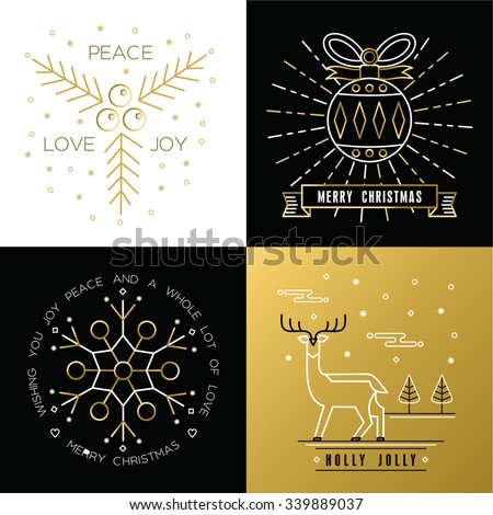 Merry Christmas golden outline label set with xmas ornament ball, snowflake, deer, and holly elements. Ideal for elegant holiday invitation or greeting card. EPS10 vector. - stock vector