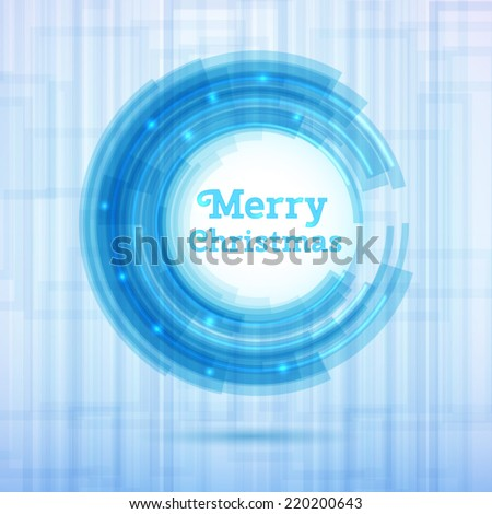 Merry Christmas greeting card. Abstract neon style circle. Vector Illustration. - stock vector