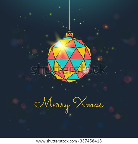 Merry christmas greeting card. Christmas color ball with shining particles. Vector - stock vector