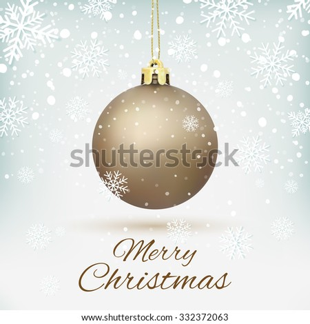 Merry Christmas greeting card. Christmas Tree decoration on winter background with snow and snowflakes. Golden Christmas ball. Vector illustration. - stock vector